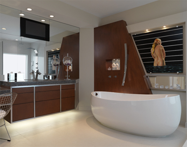 Luxury Bathroom Design, Country Club Residence, Custom Built-ins, Home Automation