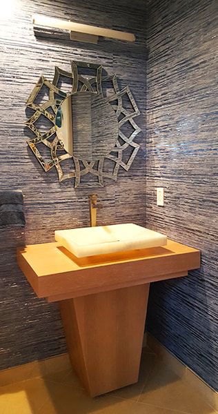 Contemporary Powder Room, Wallcovering Details, Country Club Residence, Custom Vanity Design